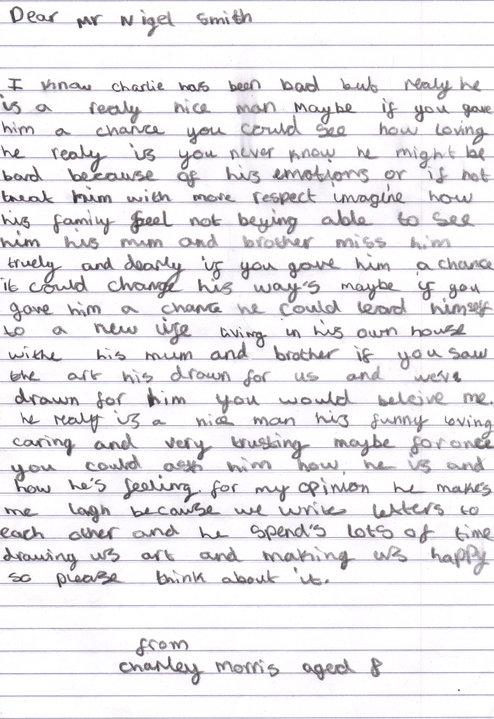 Charley Morris's letter to Charles Bronson
